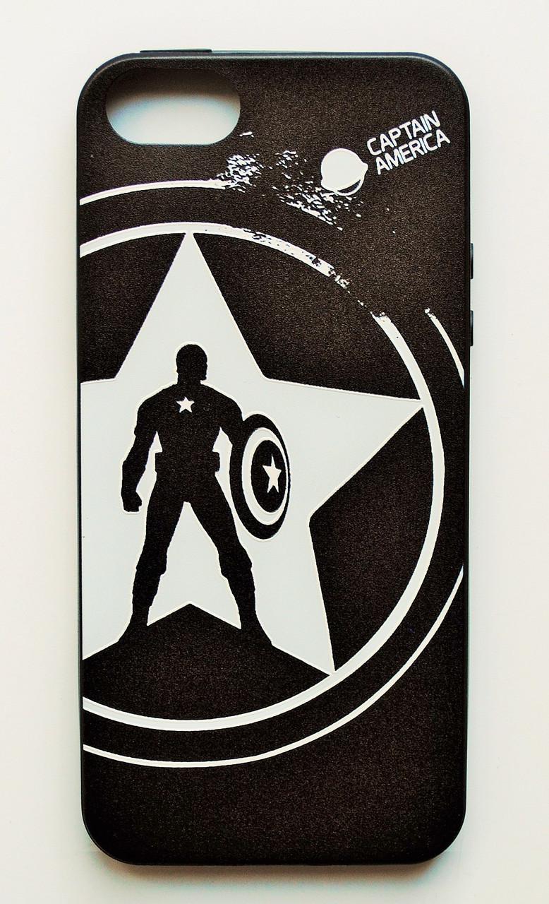 Чехол на Айфон 5/5s/SE Glossy side Силикон Капитан Америка