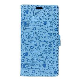 Чехол книжка для Doogee Shoot 1 боковой с отсеком для визиток, Мультяшки Голубой