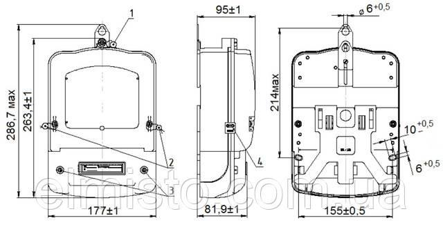 Габаритные и установочные размерыэлектросчетчика СТ-ЭА12Д (Коммунар)