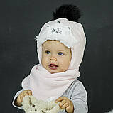 Зимний комплект для девочки шапка, снуд и варежки арт диана, фото 2