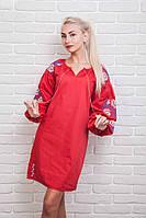Платье-вышиванка Очарование с рукавами-фонариками красного цвета