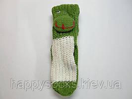 Носки детские для дома с 3д  игрушкой вязанные с силиконовыми тормозами