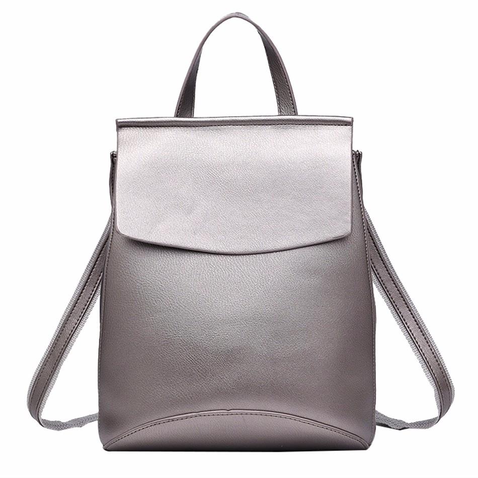 Рюкзак женский кожаный  с клапаном (бронзовый)