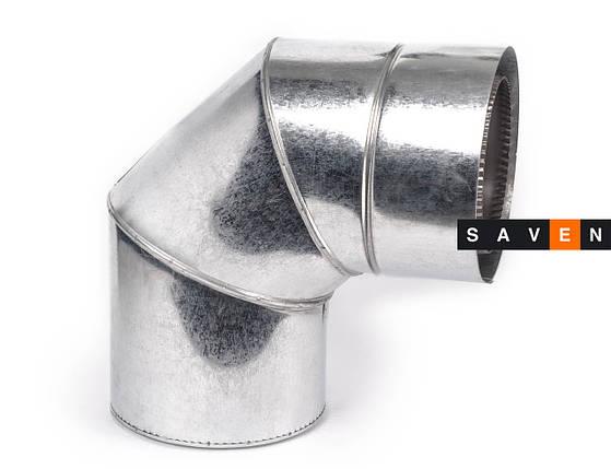 Колено для дымохода с нержавеющей стали двустенное в оцинкованном кожухе 90° 400/460, 0.8 мм, AISI 304, фото 2