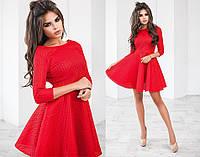 Платье женское до колен, материал - неопрен сетка, цвет - красный