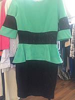 Платье зеленое синие вставки