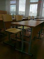 Комплект школьной мебели 2-х местный (стол без полки + 2 стула) с регулировкой высоты.