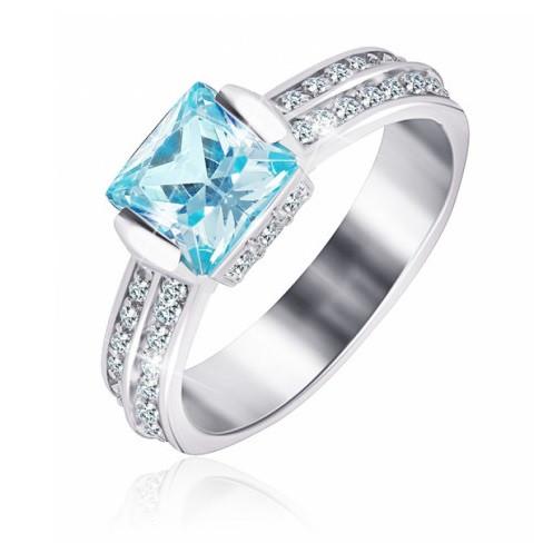 """Серебряное кольцо с имитацией топаза """"389"""""""