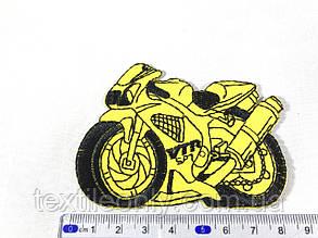 Нашивка мотоцикл колір жовтий 87х62мм, фото 2