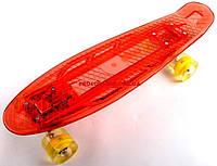 Скейт Penny Board КРАСНЫЙ С LED ПОДСВЕТКОЙ И СВЕТЯЩИМИСЯ КОЛЕСАМИ