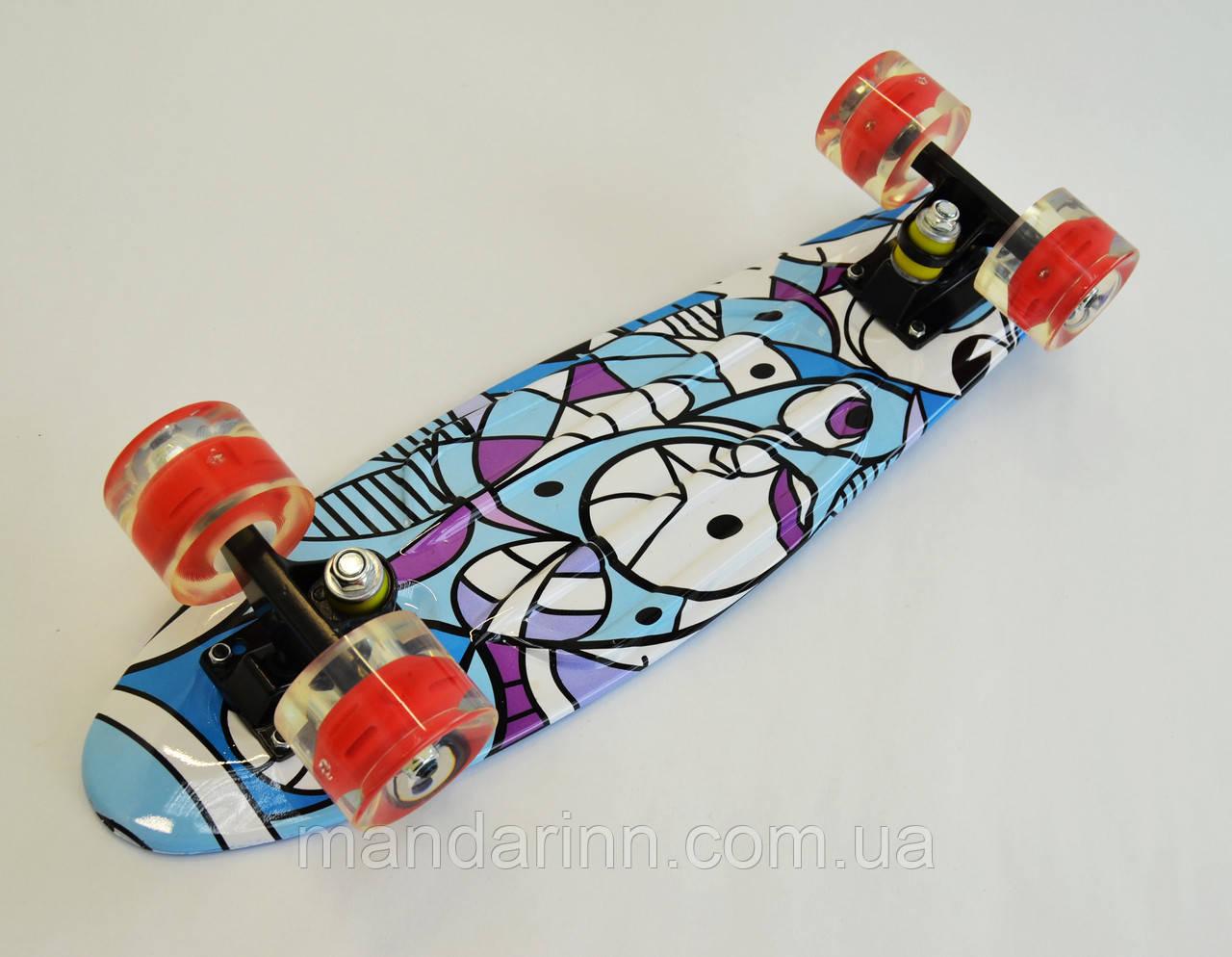 Скейтборд, Скейт Penny MARCOS Голубой Колеса-LED (2-х цветной )