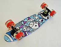 Скейтборд, Скейт Penny MARCOS Голубой Колеса-LED (2-х цветной ), фото 1