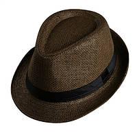 Стильная шляпа трилби темно коричневого цвета