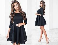 Платье женское до колен, материал - неопрен сетка, цвет - черный