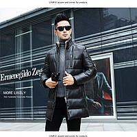 Мужская кожаная куртка - пуховик с меховым воротником. Модель 6243.