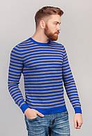 Свитер с круглым вырезом, джемпер мужской трикотажный AG-0002779 Серо-синий