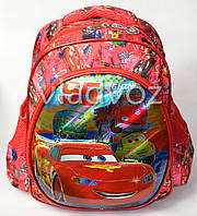 Дошкольный рюкзак для мальчиков объёмный Тачки красный
