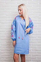Платье-вышиванка Очарование с рукавами-фонариками голубого цвета