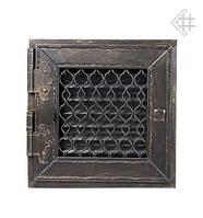 Вентиляционная решетка KRATKI Retro графитовая 17Х17 с одной дверкой, фото 1