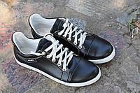 Туфли кеды кожаные с белыми шнурками
