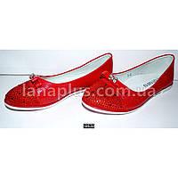 Красные балетки, туфли для девочки, 30-37 размер, супинатор, кожаная стелька