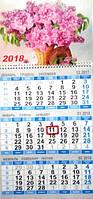 Календари настенные квартальные с курсором 2018 Цветы