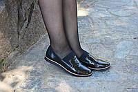 Туфли кожаные с резинкой на подъеме