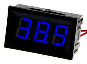 Цифровой вольтметр DC постоянного тока 5-120V панельный синий