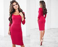 Элегантное облегающее женское платье-миди с декольте с длинным рукавом  + цвета