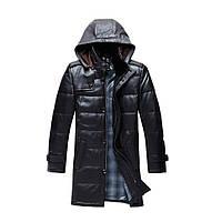 Удлиненная куртка-пуховик из натуральной кожи мужская. Модель 6245.