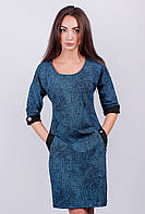 Платье женское, рукав до локтя  №AG-0002993 Сине-бирюзовый