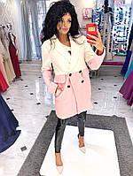 Стильное пальто-накидка в полоску