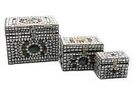 Сундуки металлические с камнями (н-р 3 шт.)(20х17х16 см) ( 18239)