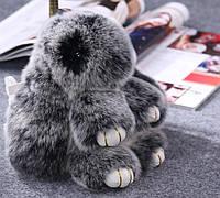 Брелок для сумки или ключей из меха шиншиллы (Кролик)