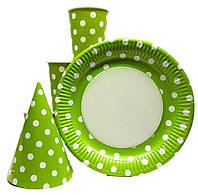 """Набор  для Дня Рождения """" Горох зеленый """" Тарелки большие  -10 шт. Стаканы- 10 шт. Колпаки - 10 шт."""