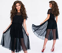 Стильное черное женское платье-сетка два в одном