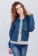 Куртка джинсовая темно-синяя женская AG-0003161 Темно-синий