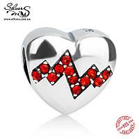"""Серебряная подвеска шарм Пандора (Pandora) """"Пульс в сердце"""" для браслета бусина"""