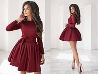Красивое женское молодежное короткое пышное платье-татьянка с подъюбником с поясом с длинным рукавом