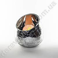 """Подсвечник/ваза из стекла в эффектом """"ртутного"""" покрытия, серебро, 13 см"""