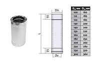 Труба дымоходная двустенная термоизоляционная с нержавеющей стали (0,8мм) L=0.25м Ø180/250