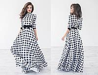 Красивое женское длинное платье в пол с длинным рукавом