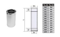 Труба дымоходная двустенная термоизоляционная с нержавеющей стали (1,0мм) L=0.25м Ø160/220