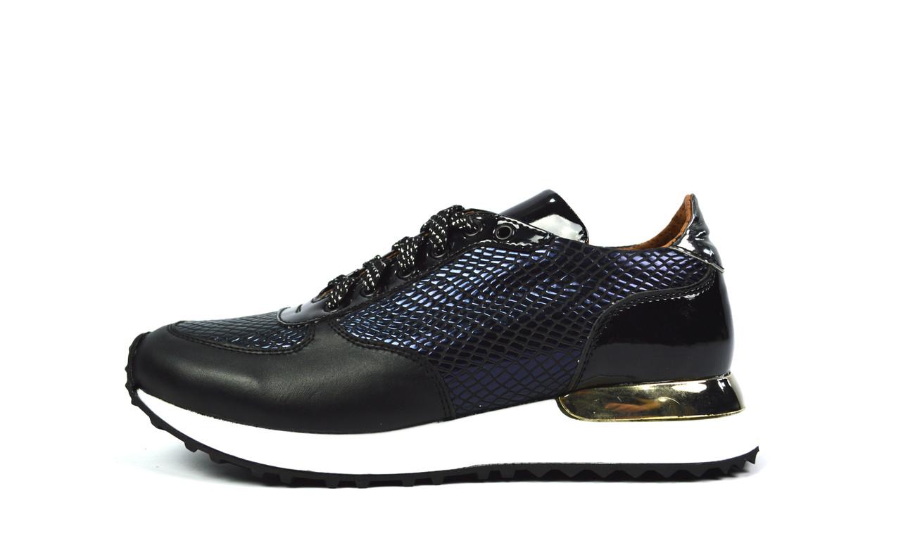 Черные женские кожаные кроссовки Paolo Gianni