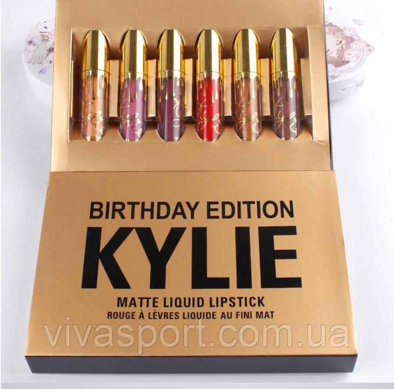 Набор из 6 жидких матовых помад Кайли Дженер, блеск для губ Kylie Birthday Edition
