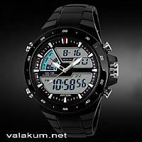 Мужские наручные кварцевые часы  Skmei 1016 черный цвет.