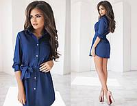 Короткое женское джинсовое платье-рубашка с длинным рукавом