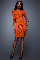 Эффектное Платье с Разрезом Замшевое Кирпичное S-XL