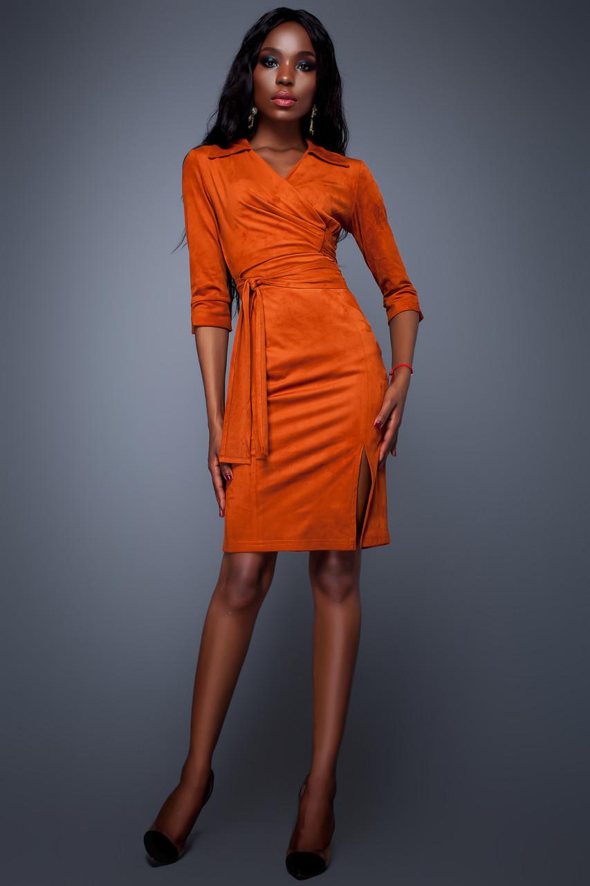 61bf68beb96da70 Эффектное Платье с Разрезом Замшевое Кирпичное S-XL - Ukraine In Trend - 100 %