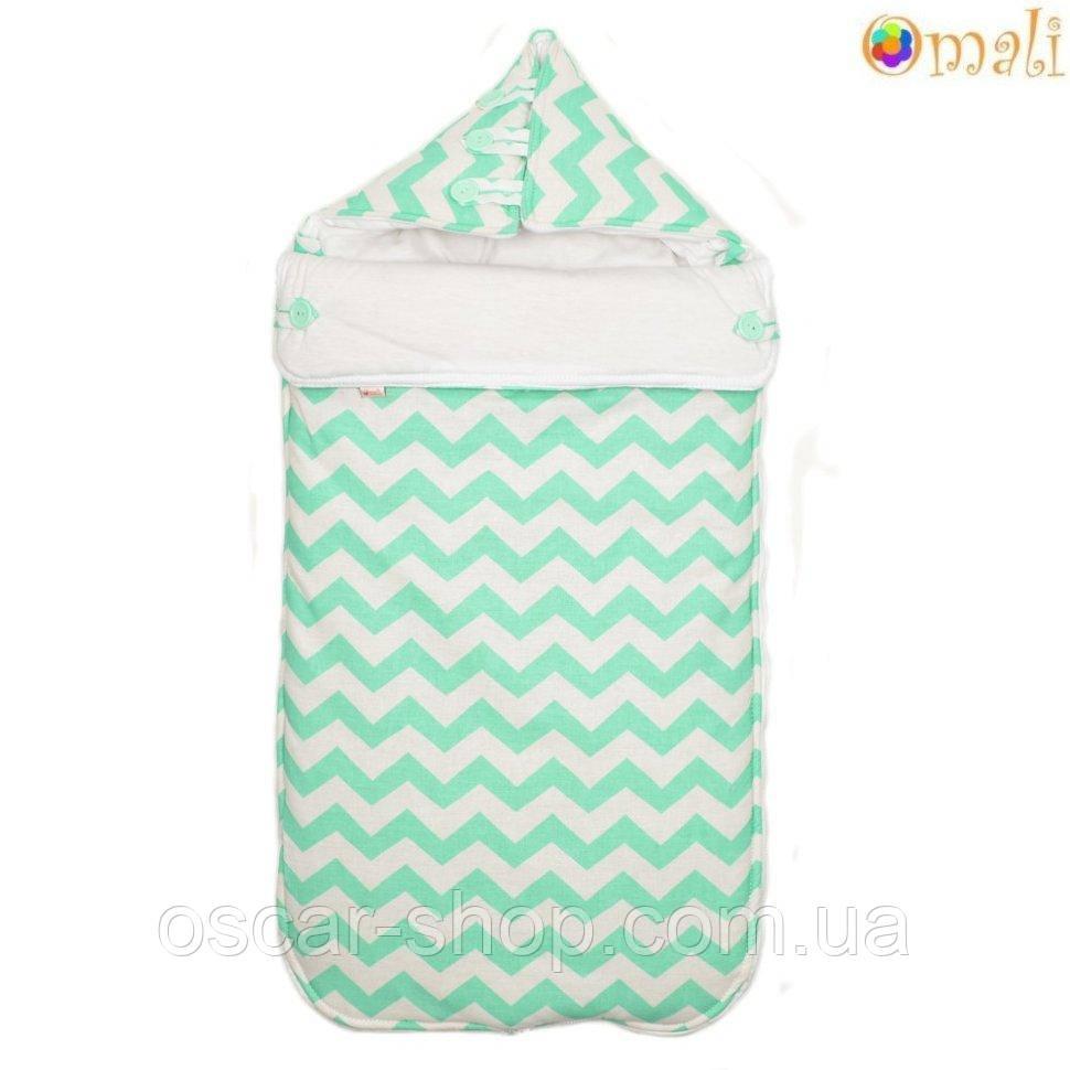 Конверт для новорожденного «Малыш» Omali, зеленый зигзаг